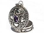 Sterling Silver Bali Oval Leaf Amethyst Prayer Box Pendant
