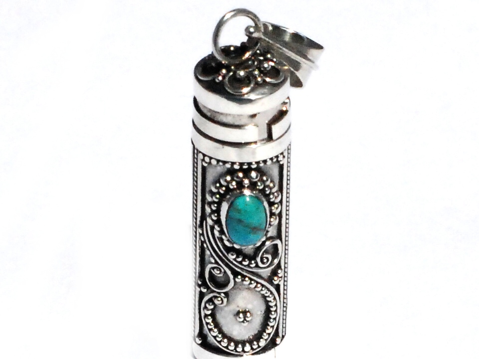 Sterling silver cylinder prayer box pendant with treated turquoise aloadofball Gallery