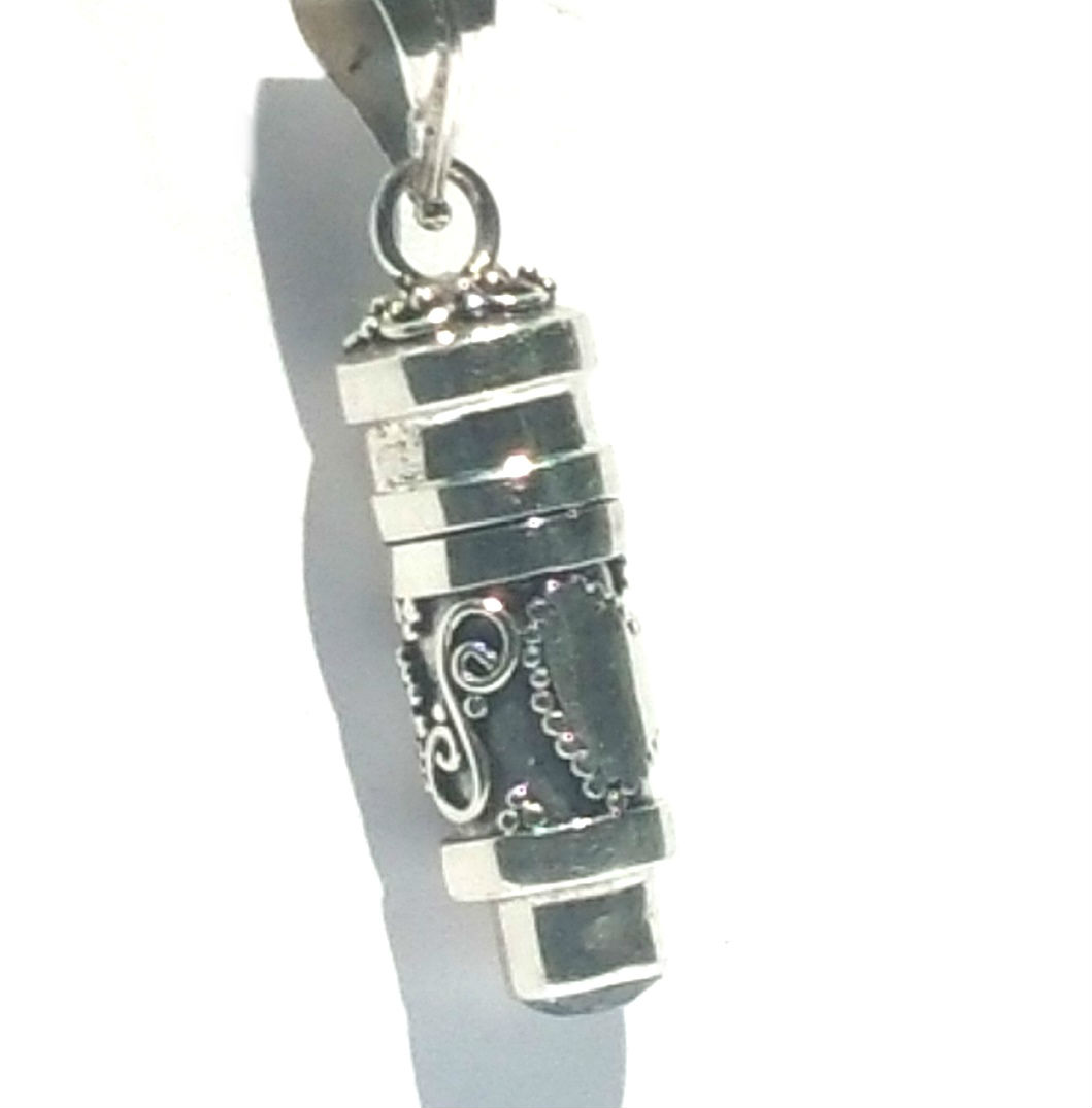 Sterling silver cylinder prayer box with hearts and black onyx pendant aloadofball Choice Image