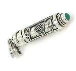 Sterling Silver heart Design Cylinder Prayer Box Pendant with Turquoise
