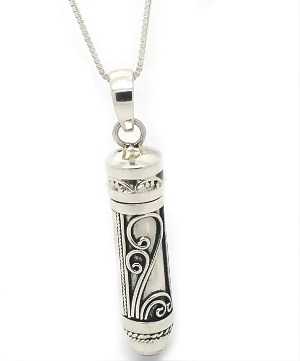 Sterling silver cylinder balinese prayer box with simulated rainbow home sterling silver jewelry pendants and charms prayer boxes pendants sterling silver cylinder balinese prayer box with simulated rainbow moonstone mozeypictures Image collections