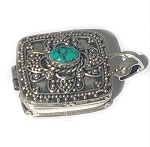 Sterling Silver Square Prayer Box Pendant Detail Balinese Design with Turquoise