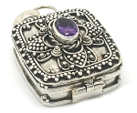 Sterling Silver Square Prayer Box Pendant Detail Balinese Design with Amethyst