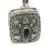 Sterling Silver Square Prayer Box Pendant Detail Balinese Design with Black Onyx