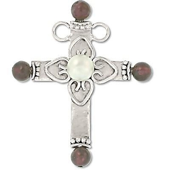 Sterling Silver Hand-Made Genuine PEARL and Garnet Cross