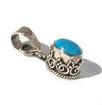 Sterling Silver Hand-Made Genuine Turquoise Bali Pendant