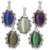 Sterling Silver Large Cats Eye Cab In Silver Earring Frame Pendant