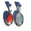 Sterling Silver Bali Pendant w/ Genuine Carnelian or Mother of Pearl