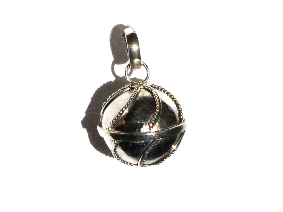 Sterling silver bali curve dots 15mm harmony ball pendant aloadofball Image collections