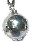 Sterling Silver hand-made Bali 14.5 mm Harmony Ball Moon and Star