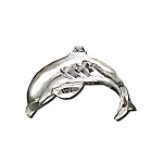 925 Sterling Diamond Cut Diving Dolphin Pendant