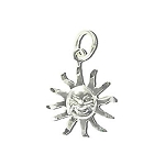 Sterling Silver Diamond Cut Sun Face Pendant