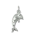 Sterling Silver Diamond Cut Dolphin Pendant