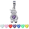 Sterling Silver Boy with facet Genuine Stone Heart Charm Pendant