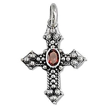 Sterling Silver Bali Hand-Made Facet GARNET Cross