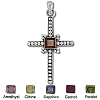 Sterling Silver Hand-Made Genuine Facet Stone Cross