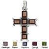 Sterling Silver Bali Hand-Made Genuine Facet Stone Cross