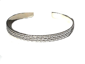 Sterling Silver Hand Made Bali 4 Rope Lines BANGLE Cuff Bracelet