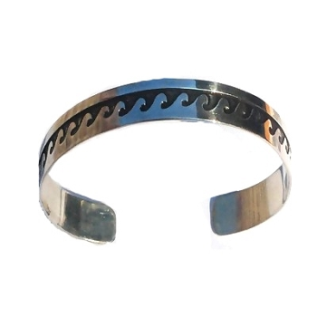 Sterling Silver Oxidized Waves BANGLE Cuff Bracelet