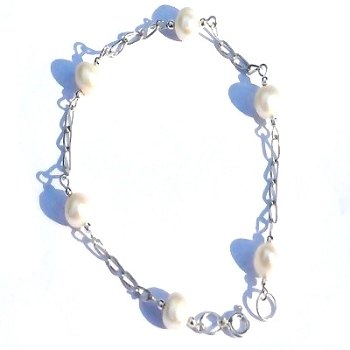 New Sterling Silver BRACELETs with 6mm Pearls