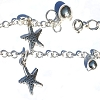 Sterling Silver 10 inch Star Fish and Bell Ankle Bracelet