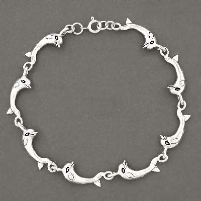 Sterling Silver Jumping Dolphin Link 10 ANKLET