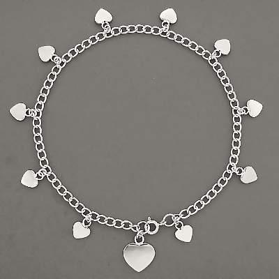 Sterling Silver Heart Charms ANKLET / Bracelet