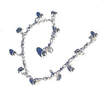 Sterling Silver 925 Chimming Balls and Bunny ANKLET / Bracelet