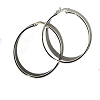 Stainless Steel Catch Pin Catch 2 1/4 Inch Hoop Earrings