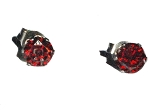 Stainless Steel 6 mm Red Garnet CZ Cubic Zirconia Stud Earrings