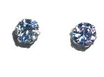 Stainless Steel 6mm Light Blue CZ Cubic Zirconia Stud Earring