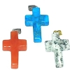 Hand carved  Stone Cross Pendant - Sold by Piece assorted Stones