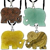 Hand Carved Elephant Genuine Stone Pendant - assorted Stones