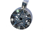 Stainless Steel  Pentagram on Circle with Faceted Glass Pendant