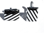 Diagonal Black Stripe Mens Polished Cuff Links