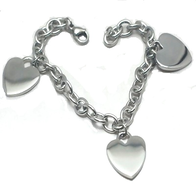 Stainless Steel 8 inch  Chain Bracelet w/ 3 engravable heart charms
