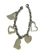 Stainless Steel 8  inch Charm Bracelet w/ 5 different Hearts