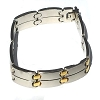 Stainless Steel 8 1/2 inch Link  Bracelet with gold accents.