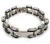 Men's Stainless Steel Bicycle Link Bracelet with black rubber