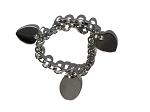 Stainless Steel 8 inch Engravable Hearts and Oval Disc Charm Bracelet