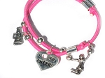 Pink Red 2013 Cheerleader Bracelet with 4 cheer leading Charms
