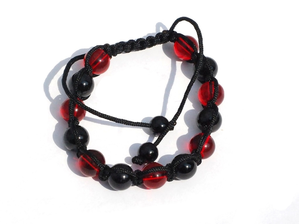 Tranquility Friendship bracelet with Red and Black GLASS BEADS