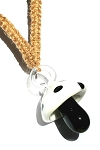 Hemp Choker Necklace with Black and White Glass Mushroom Pendant