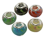Lampwork 14mm European Rondelle Beads 5mm Hole Silver Color Core