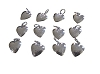 Silvertone puffed heart charm pendants- Sold by the Dozen