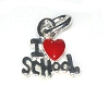 I Heart School with a Red Heart Charm Pendant Sold by the each