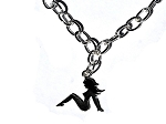 Sexy MudFlap Trucker Girl  Chained Pendant Necklace