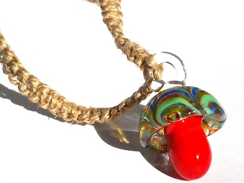 Hemp choker necklace with red glass mushroom pendant mozeypictures Gallery