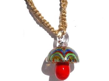 Hemp choker necklace with red glass mushroom pendant aloadofball Images