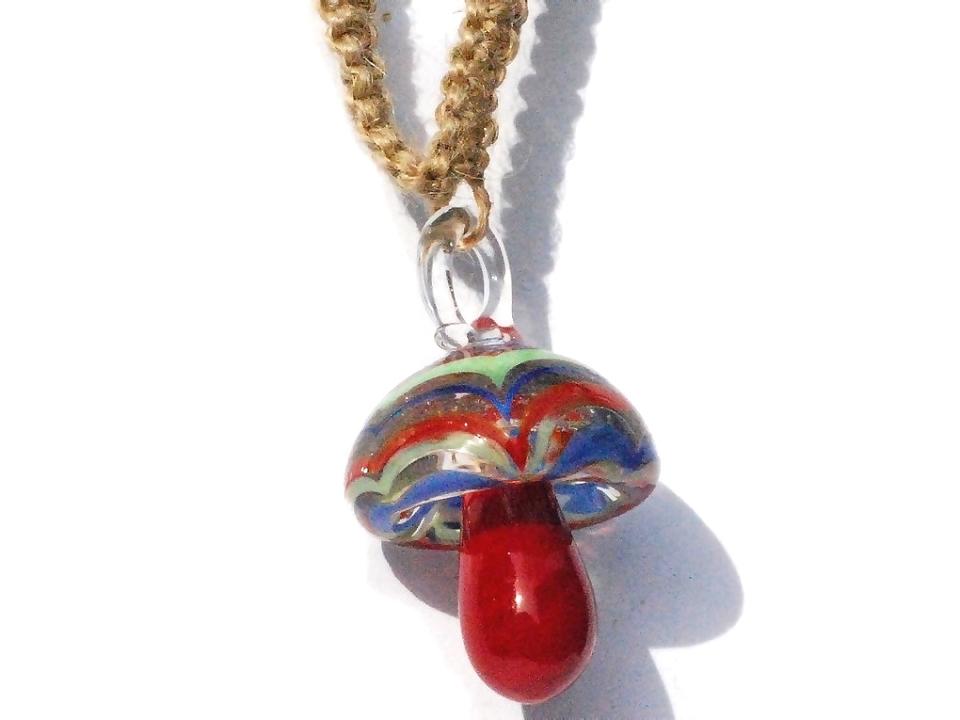 Hemp choker necklace with red maroon glass mushroom pendant aloadofball Images